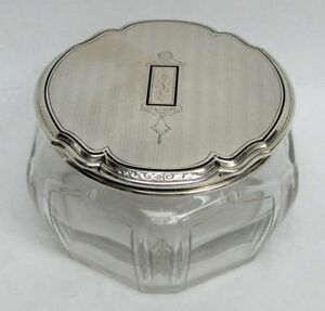 Deco Era William Kerr Sterling Silver Crystal Powder Jar