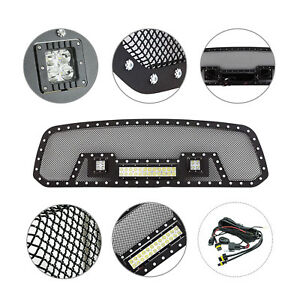13 18 Dodge Ram 1500 Rivet Grille With Led Light Black Wire Mesh Stainless Steel