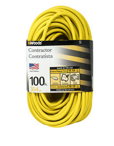 High Visibility Extension Cord With Lighted Ends 100 foot Vinyl Jacket Yellow