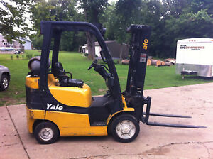 2011 Yale 5000 Lb Forklift With Side Shift Triple Mast Model Glc050 Propane