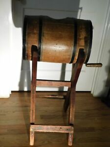 Antique Primitive Barrel Butter Churn Wood And Black Metal With Stand
