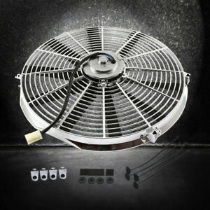 12 Reversible Straight Blade Radiator Electric Chrome Cooling Fan 12v 1577 Cfm
