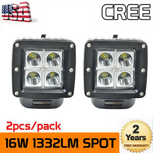 2x 3 Inch 16w Led Work Light Cube Pods Spot Truck Offroad Suv Atv Driving Ford