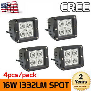 4x 3inch 16w Square Led Work Lights Spot Cube Pods Suv Offroad Truck Fits Jeep