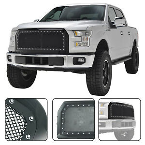 2015 2017 Ford F 150 F150 Rivet Grille Matte Black Stainless Steel Wire Mesh