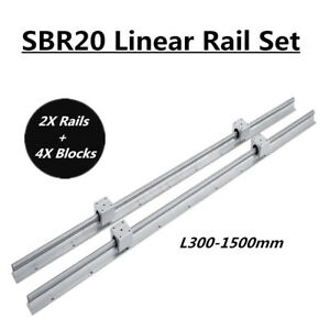 2x Sbr20 L200 1500mm Linear Rail Slide Shaft Rod With 4x Sbr20uu Bearing Blocks