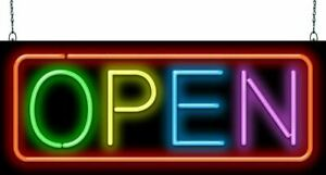 Multi color Open Neon Sign Jantec 2 Sizes Marketing real Neon free Shipping