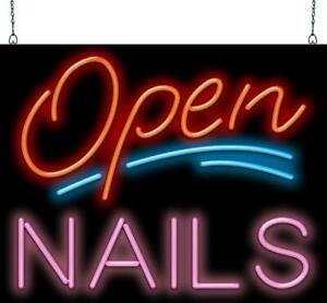 Open With Nails Neon Sign Jantec 2 Sizes Salon Real Neon Free Shipping