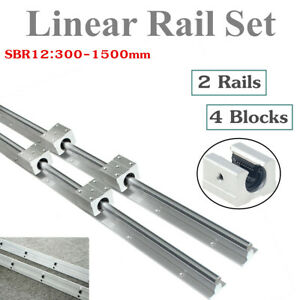 2x Sbr12 300 1500mm Fully Supported Linear Rail Shaft Rod 4x Sbr12uu Block