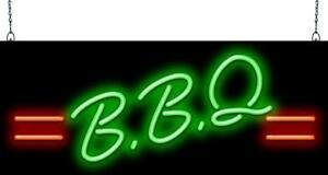 Bbq Neon Sign With Lines Jantec 2 Sizes Barbecue Real Neon Free Shipping