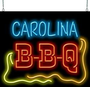 Carolina Bbq Neon Sign Jantec 32 Wide X 27 High Barbecue Free Shipping
