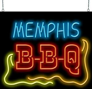 Memphis Bbq Neon Sign Jantec 32 Wide X 27 High Barbecue Free Shipping