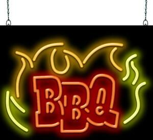 Bbq Flame Neon Sign Jantec 3 Sizes Barbecue Free Shipping Real Neon
