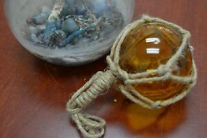 Reproduction Amber Glass Float Ball Buoy With Fishing Net 4 F 510
