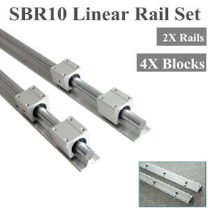 2x 10mm Sbr10 300 1000mm Fully Supported Linear Rail 4x Sbr10uu Bearing Block