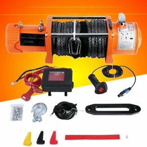 12v 13000lbs Electric Winch Towing Truck Trailer Synthetic Rope 12000lbs Orange