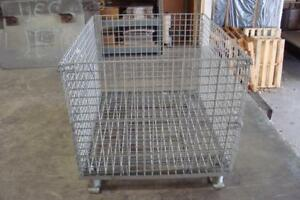 Collapsible Steel Wire Container Gaylord 48 X 40 X 36 Fair Shape W Dents