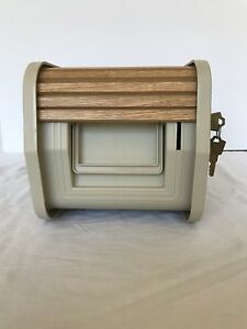 Wood Roll Top Storage Box With Lock And Carrying Handle