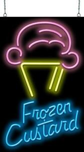 Ice Cream Cone With Frozen Custard Neon Sign Jantec 2 Sizes Free Shipping