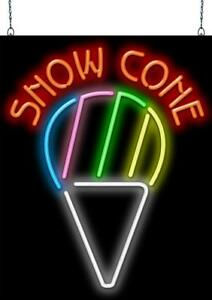 Snow Cone Neon Sign Jantec 2 Sizes Shaved Ice Cream Free Shipping