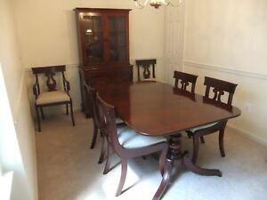 Willett Dual Pedestal Solid Cherry Table With 6 Urn Back Chairs