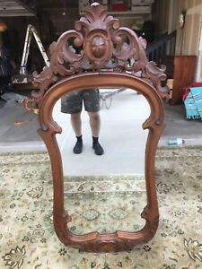 Rare Ornate Antique Rococco Revival Carved Mirror