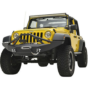 07 18 Jeep Wrangler Jk Full Width Front Bumper Black With Winch Plate