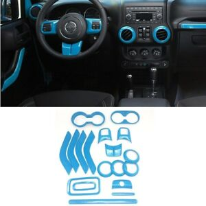 18pcs Light Blue Interior Decoration Accessories For Jeep Wrangler Jk Jku 4 door