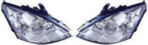 Side Pair For 2002 2003 Ford Focus Headlight Assembly Hid Lamps Left Right