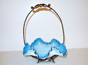 Brides Basket Blue Cased Glass Bowl Antique Victorian Wedding Candy Dish