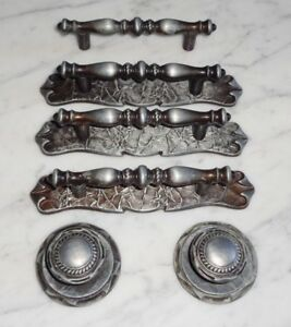 Vintage Amerock Black Silver Carriage House Cabinet Drawer Pull Handles