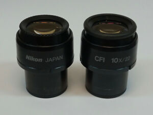Pair Of Nikon Cfi 10x 22 Microscope Eyepieces With Grid Reticle