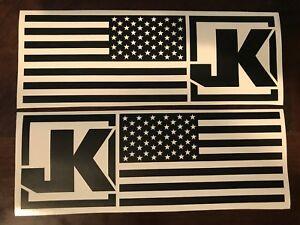 Pair Matte Black American Flag Jk Jeep Wrangler Rubicon Stickers Decals