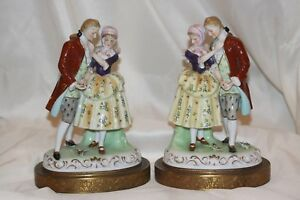 Pair Porcelain Victorian Figurine Metal Base Man And Woman Large