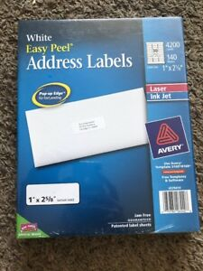 Avery Easy Peel White Address Labels Laser Inkjet Printers 1 X 2 5 8 4200 Ct