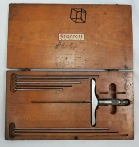 Vintage Starrett 445 Micrometer Depth Gauge 0 9 Capacity Original Wooden Box