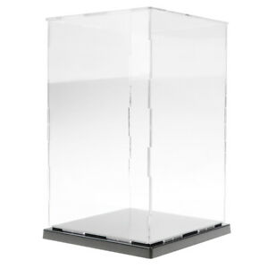 Acrylic Plastic Display Case With Black Base Self assembly Dustproof Protection