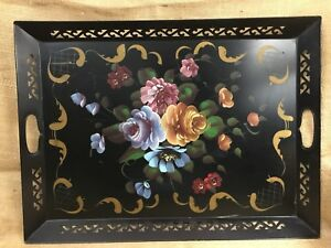 Vintage Toleware Black Metal Painted Floral Roses Tole Tray Platter Nashco
