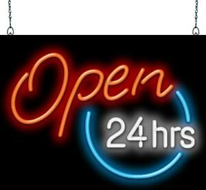 Open 24 Hours Neon Sign Jantec 3 Sizes Diner Cafe Grocery Store