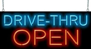 Drive Thru Open Neon Sign Jantec 2 Sizes Fast Food Convenience