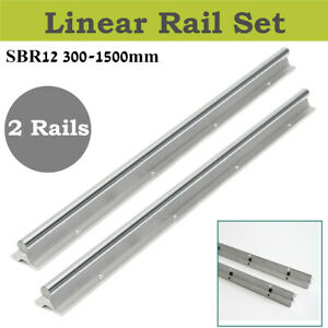 Us Stock Sbr12 300 1500mm Linear Rail Fully Supported Shaft Rod For Cnc Diy 2pcs