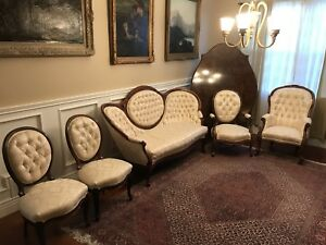 Antique Rococo Revival Rosewood Parlor Sofa Set Tub Chair Rare