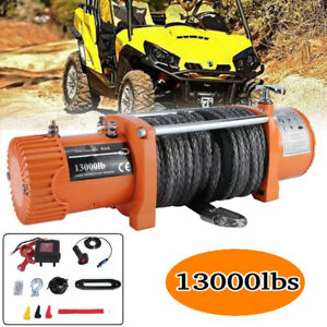 New 12v 13000lbs Electric Winch Towing Truck Trailer Synthetic Rope 12000lbs