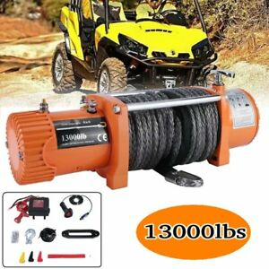 New 12v 13000lbs Electric Winch Towing Truck Trailer Synthetic Rope 12000lbs Us