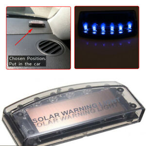 Universal Solar Energy Blue Car Security Alarm Warning Theft Flash Sensor Light