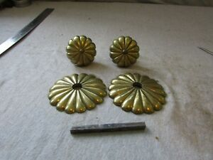 Vtg Early Bronze Brass Door Knob Set Radial Sunburst W Rosettes 2154