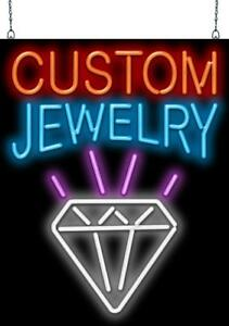 Custom Jewelry Neon Sign Jantec 2 Sizes Pawn Gold Silver Real Neon