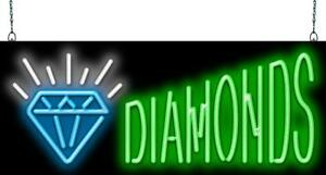 Diamonds Neon Sign Jantec 2 Sizes Pawn Jewelry Gold Silver Real