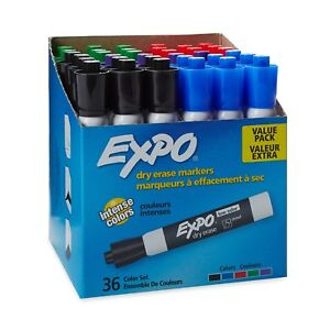 Expo Low Odor Dry Erase Markers Chisel Tip Assorted Colors 36 Pack Nwt Supply