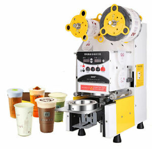 Full Automatic Bubble Tea Cup Sealing Machine Fruit Juice Cup Sealer 220v New B